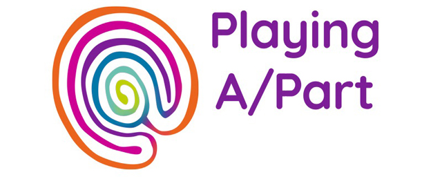 Playing A Part logo, a multicoloured labyrinth with the words Playing A/Part in purple